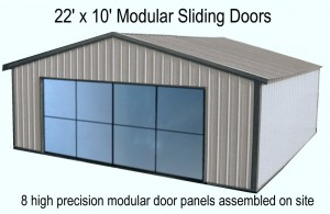22 ft x 10 ft modular sliding doors 8 high presicion door panels