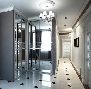 Mirrored inside sliding doors contemporary architectural design