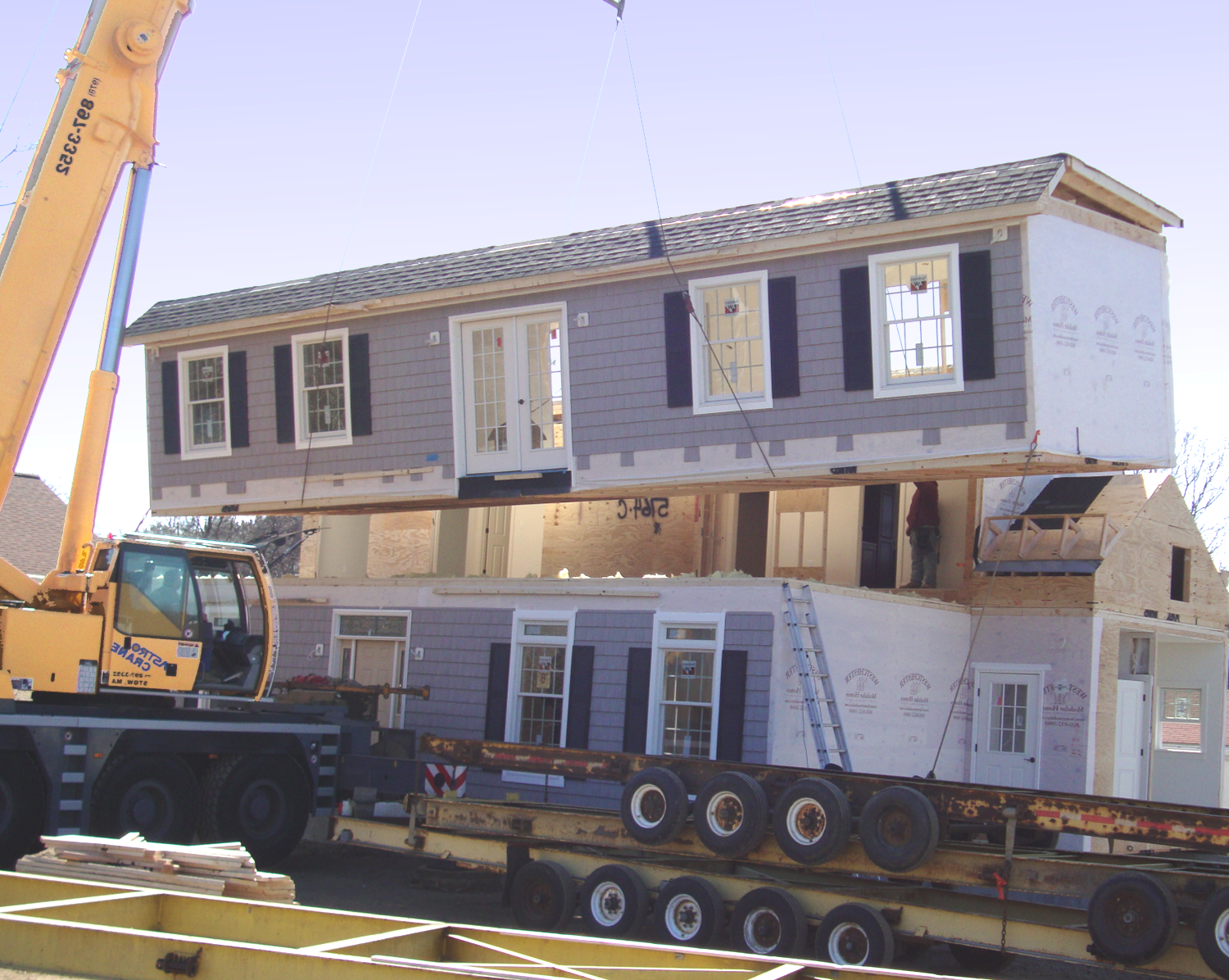 Modular Homes assembled like building blocks with crane assistance