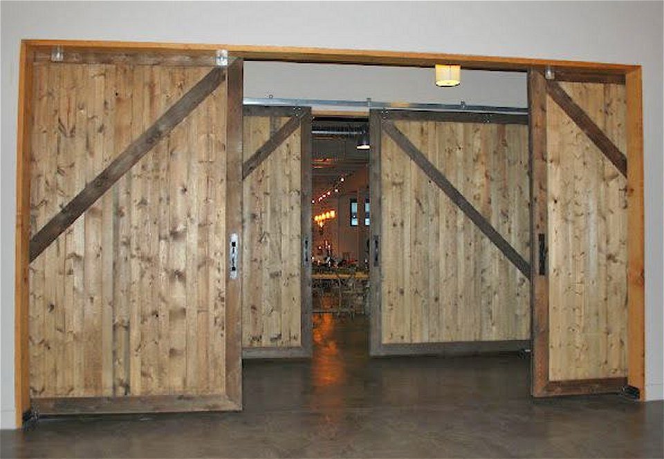 Non warping rustic large cedar sliding barn doors 10 x 10 sing guaranteed