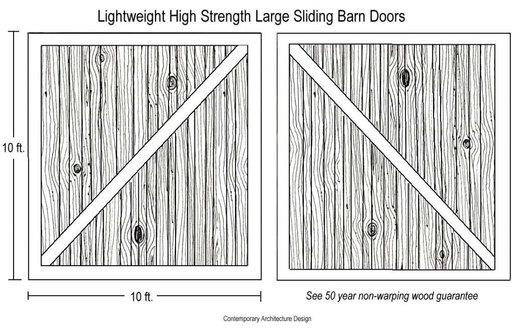 Sliding barn door drawing lightweight high strength wood