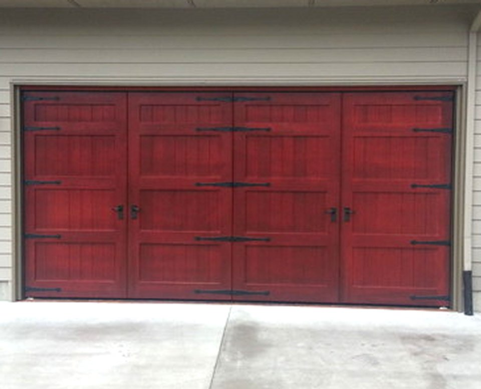 Bi fold carriage doors 16 ft x 8 ft insulated wood for 10x14 garage door
